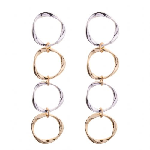 Bisoux Jewellery Long Silver and Gold Mix Circle Earrings